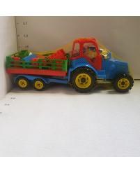 Traktorius su plastmasinėm dėlionėm ir priekaba